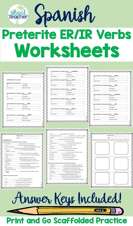 Spanish Preterite Er Ir Verbs Worksheets Verb Worksheets Verb Practice Elementary Spanish Lessons [ 1251 x 736 Pixel ]