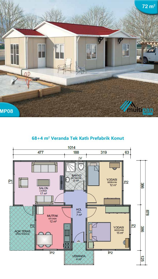 Mp8 68m2 4m2 2 bedrooms 1 bathroom lounge kitchen for Two bedroom hall kitchen house plans