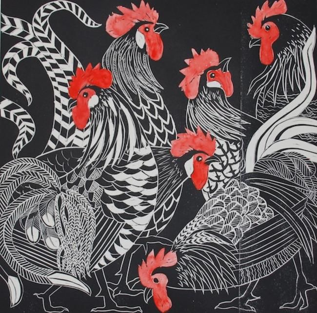 Cacophony of Cockerels linocut by Celia Lewis
