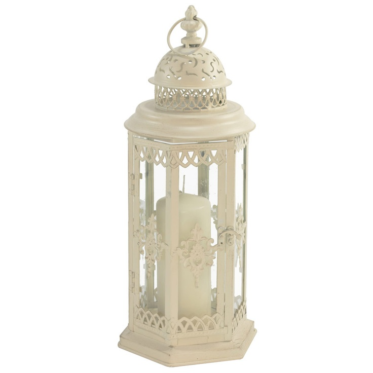 elegant shabby chic vintage white cream candle lantern wedding centerpiece available to buy from