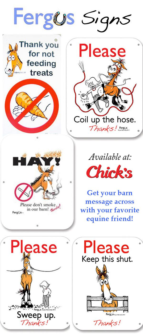 Get your barn message across with these Fergus the Horse signs | ChickSaddlery.com