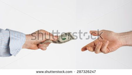 Giving money to the poor isolated on white