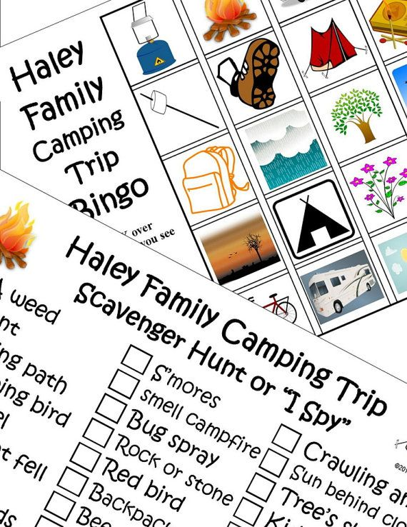 Printable Travel Games Kids Personalized Camping Bingo And Scavenger Hunt Or I Spy