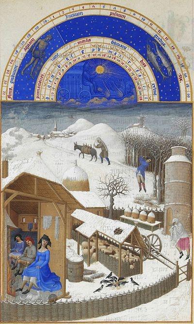 Geillumineerd getijdenboek van de gebroeders van Limburg   Très Riches Heures du duc de Berry  Maand Januari - het eerste besneeuwde landschap in de geschiedenis van de schilderkunst.ca 1410