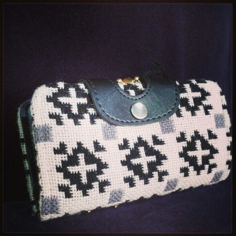 #retro #blackandwhite #tapestry #wallet $30 #wherethemoneyis #Aztec #pattern