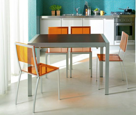 orange dining chairs with gray dining table gray dining dining - Modern Kitchen Tables