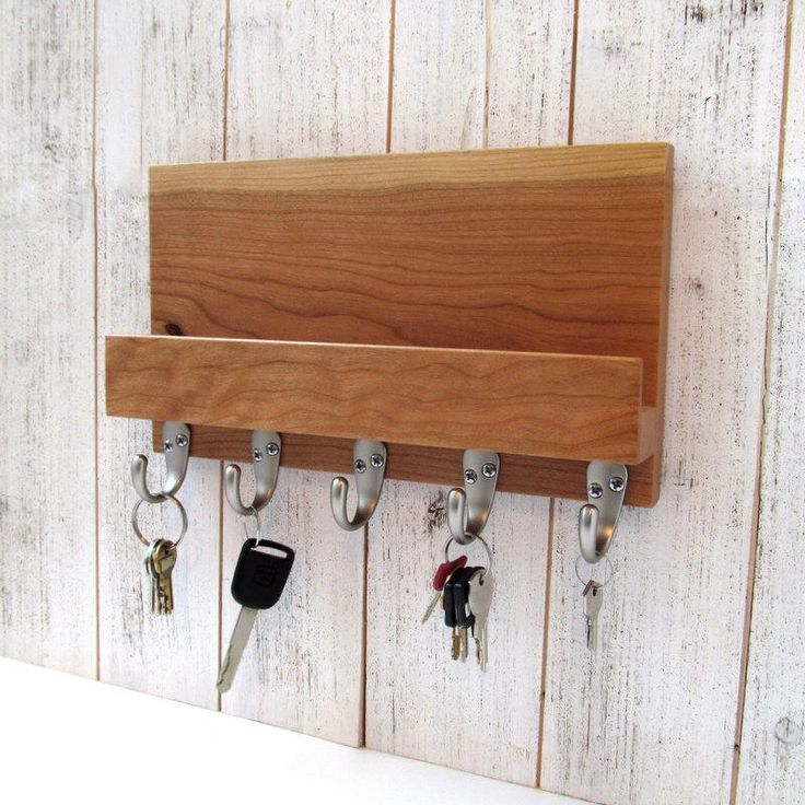 Excited to share the latest additione to my #etsy shop: Valnetine's gift, modern mail and key holder for wall, cherry wood key rack, entryway organizer, key storage, leash hanger, mail organizer. #storage #wallmailorganizer #woodkeyrack #entrywayorganizer #leashhanger #wallkeyorganizer #woodenkeyhanger