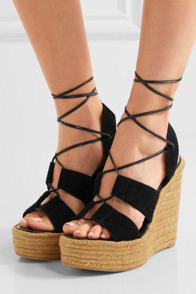 Saint Laurent - Suede Espadrille Wedge Sandals - Black
