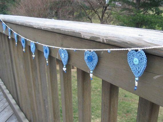 Garland  Bunting  Blue  Crochet  Home Decor  by BitsOfFiber, $25.00