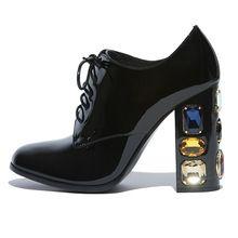 2016 Lederen Strass Hoge hakken lakleer Lace up Zwart Sexy vrouwen pompen Dames Big size trouwschoenen(China (Mainland))