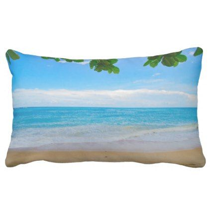 Scenic Tropical Beach Sun Sand and Surf Lumbar Pillow - home gifts ideas decor special unique custom individual customized individualized