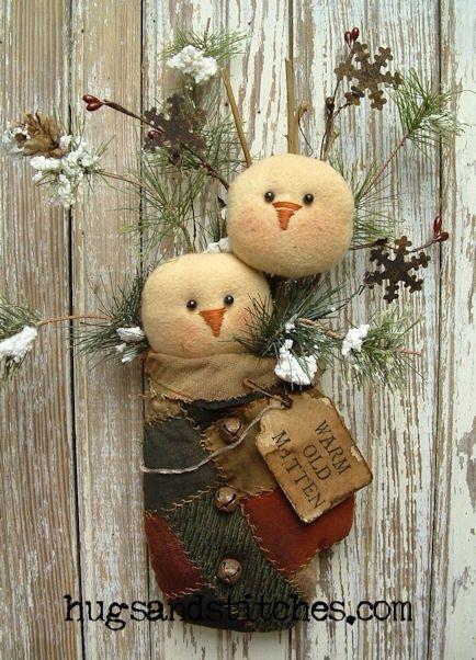 Snowmen in a vintage crazy quilt mitten wall hanging