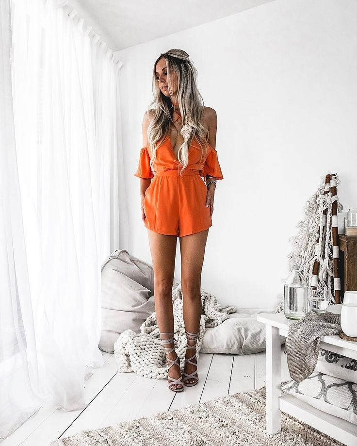 Orange Playsuit Boho Bodysuit Midi Dress