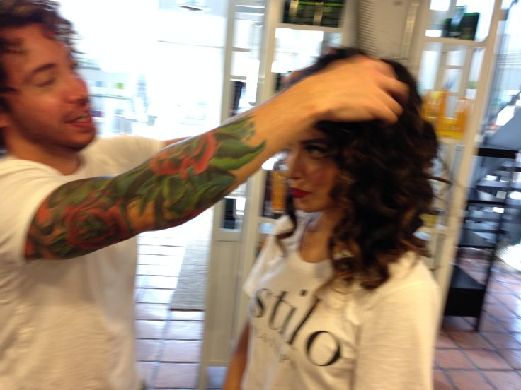 Mario Tort doing hair for The Skin Specialist, Vanessa Tort of Estilo Salon and Spa | Capuchino Beauty - Houston Makeup Artists, Hair Stylists