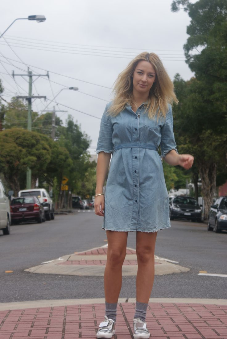 Frayed Language customised denim shirt dress. Bleached, restructured and frayed to a preloved garment