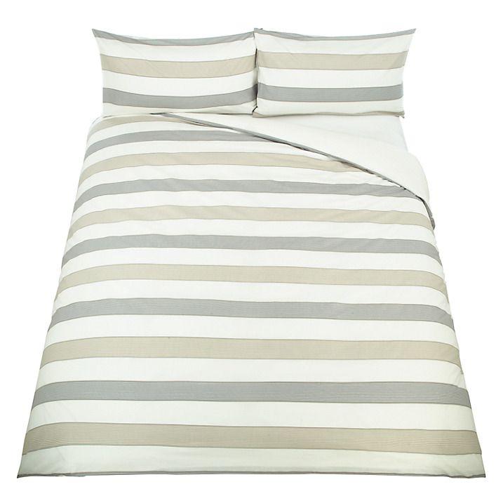 Buy John Lewis Celina Stripe Duvet Cover and Pillowcase Set, Natural, Single Online at johnlewis.com