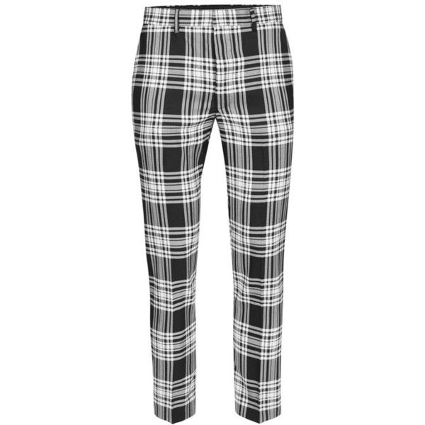 Men's Topman Plaid Ultra Skinny Fit Crop Trousers ($70) ❤ liked on Polyvore featuring men's fashion, men's clothing, men's pants, men's dress pants, mens cropped pants, mens pants, mens flat front dress pants, mens plaid pants and mens tartan pants