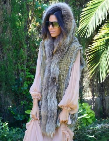 Fur Vest with Hood in Gray | WE LOVE ACCESSORIES | Pinterest