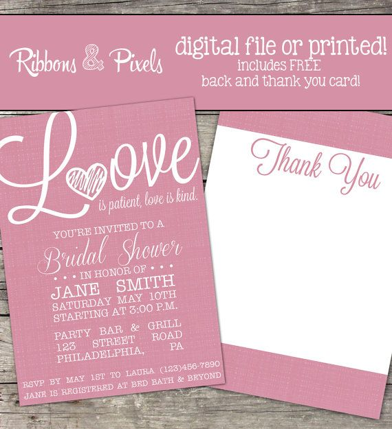 Love Is Patient Love Is Kind Printable Bridal Shower Invitation With Calligraphy