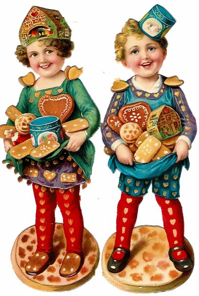 Vintage christmas scraps with children and gingerbread