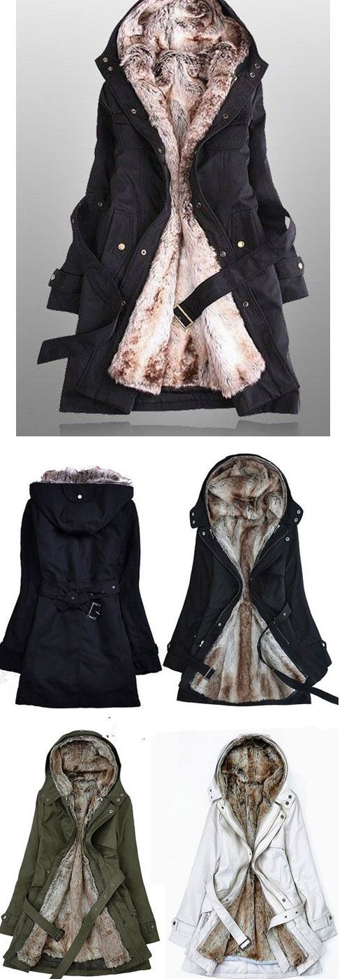 Detachable Plush Liner Thick Cotton Windbreaker Jacket Coat  for this winter! #jacket #coat #winter #women