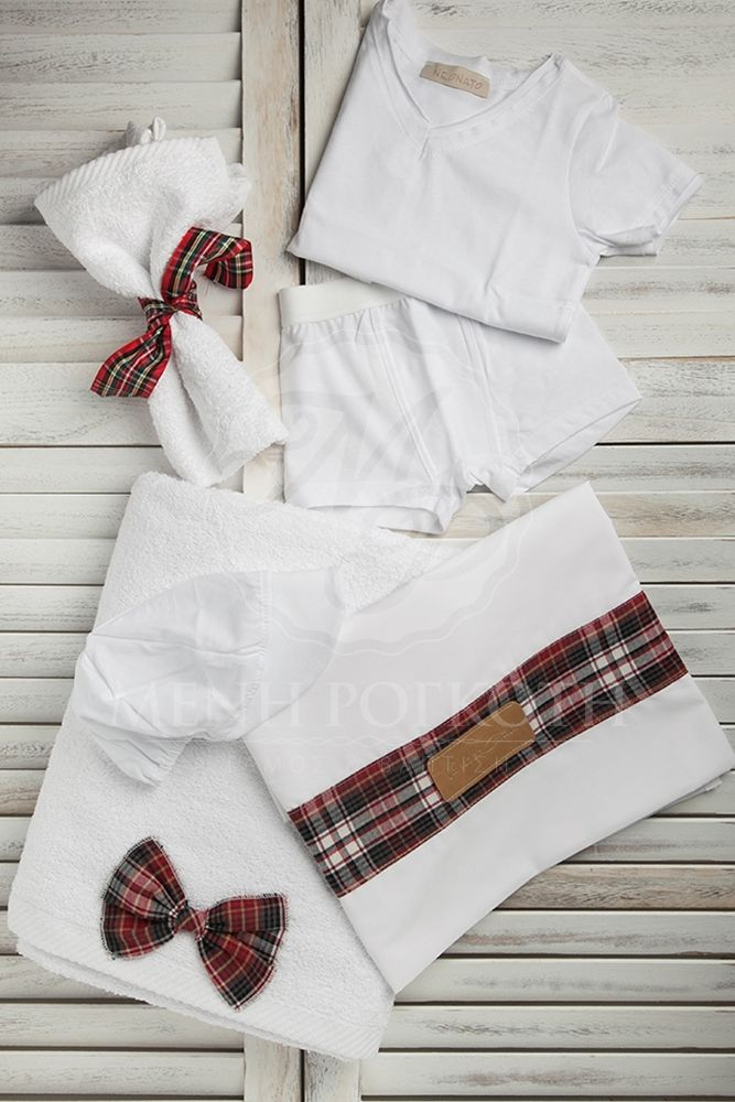 Elegant boy's Christening lathopana with Scottish tartan border