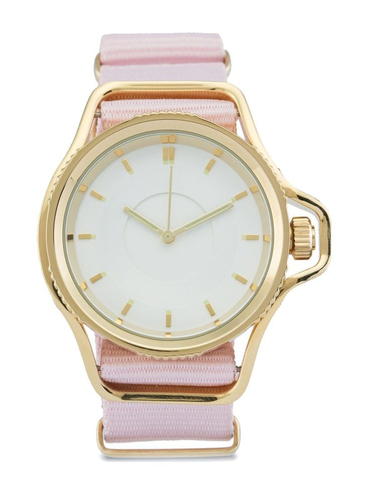 Nylon strap watch by Zalora, this nylon watch has a cute color, baby pink combined with gold crown-guard, perfect watch for everyday use. Casual watch that will steal everyone eyes. air this watch with white shirt, blue jeans and a sneakers for a normcore style. http://www.zocko.com/z/JG98E