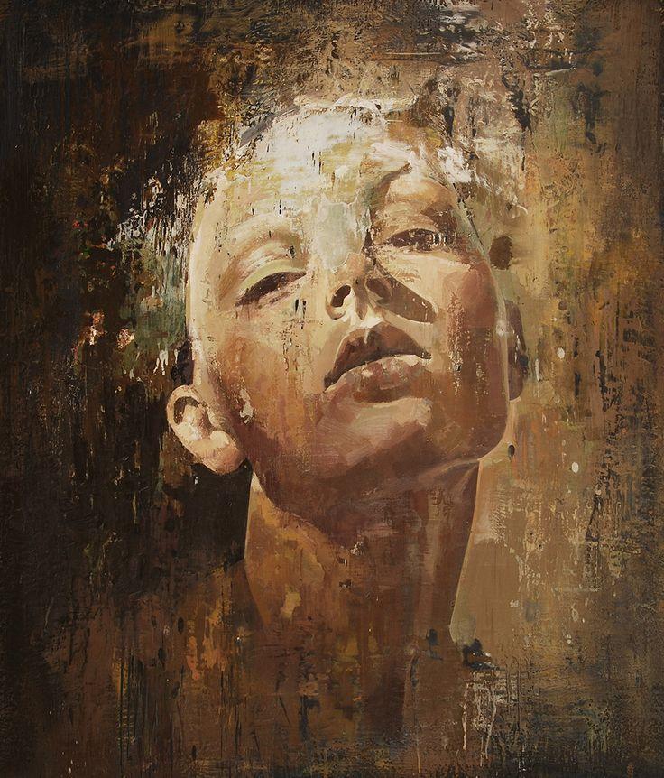 ORIGINAL PAINTING. Encaustics oil on canvas. Unframed. Made in USA by Yuriy Ibragimov