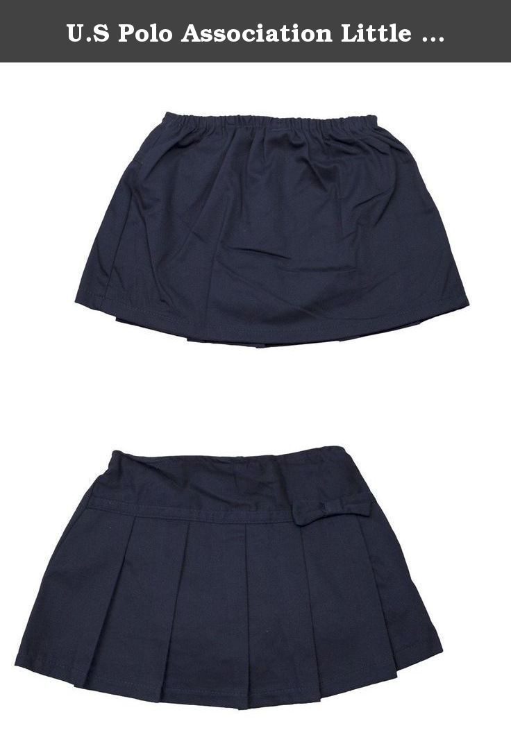 U.S Polo Association Little Girls' Toddler Bow Accent Pleated Scooter 2T Navy. U.S Polo Association skirt is a school uniform essential. Made of twill, it features a drop waist, thick pleats on the front, and a bow accent at the hip. Full elastic in back offers a snug fit. The scooter lining provides comfort and coverage. A welcome addition to her school wardrobe. Exterior & Lining 60% Cotton, 40% Polyester Machine Wash Cold Made in Bangladesh.