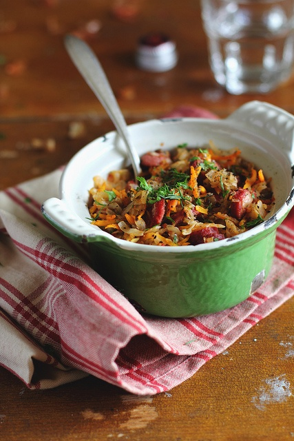 Stewed Cabbage with Lentil and Sausages, via Flickr.