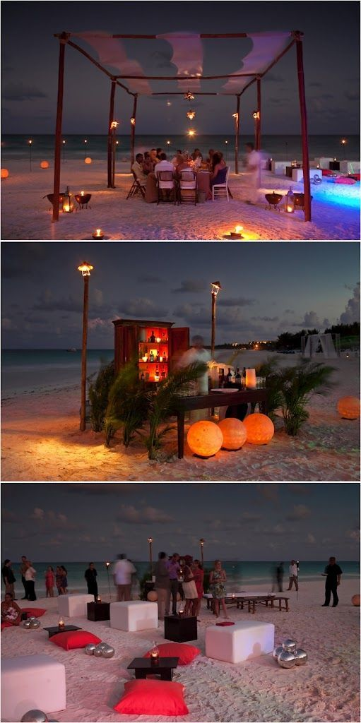 pretty and function night beach wedding set up with light coverings and a bar and simple seating and tables