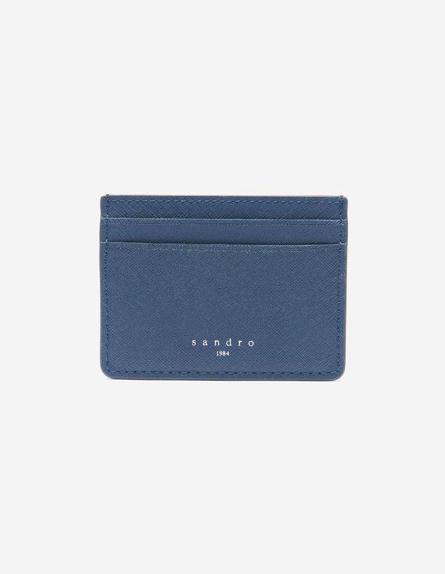 Porte-cartes Sandro<br />  • Cuir Saffiano <br />  • Deux fentes de chaque côté<br />  • Un compartiment central<br />  • Dimensions: 7,5 x 10 cm<br />  Accessoire pratique et indispensable du vestiaire Sandro Homme