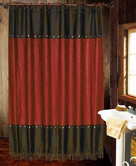 Cheyenne Red Western Shower Curtain   Guest/Bunkroom Bathroom
