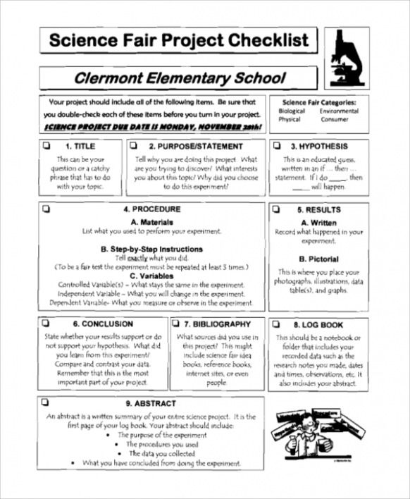Free Download Sample 8 Sample Project Checklists Science Fair