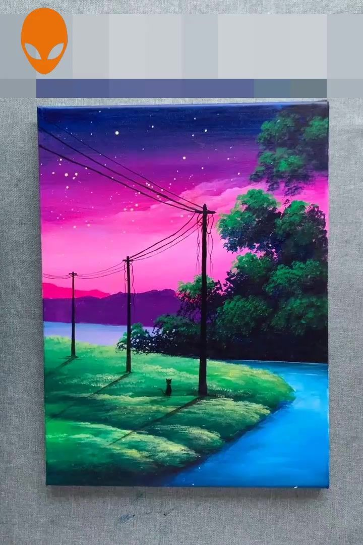 Beautiful Hand Painting Ideas Diy Drawing Painting Beautiful Hand Ideas Mak Canvas Art Painting Landscape Painting Tutorial Painting Art Projects