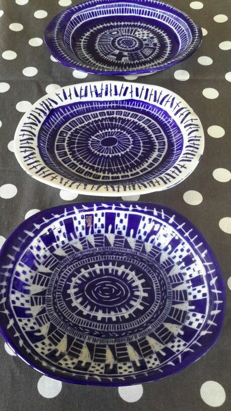 Three different techniques to create my blue side salad plates