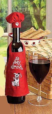Wine Bottle Apron Chef Set, Christmas Party Wine Decor, Wine Gift Giving Idea