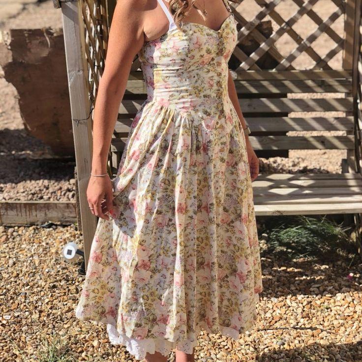c3e96058fa5 Listed on Depop by ladycarly10. Vintage floral tea dress size ...