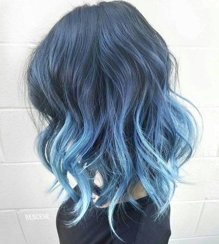 Blue Balayage For Brunettes