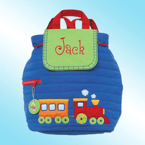 Quilted Backpack - Personalized and Embroidered - CHOO CHOO TRAIN. $24.99, via Etsy.