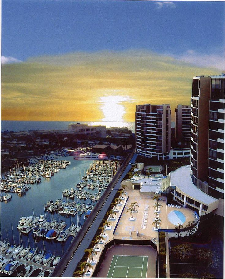 Marina del Rey, CA. This is the view from the Ritz Carlton the building are Marina City Club built by Howard Hughes. (Tennis, Yacht Club). My dream wedding location  ; )