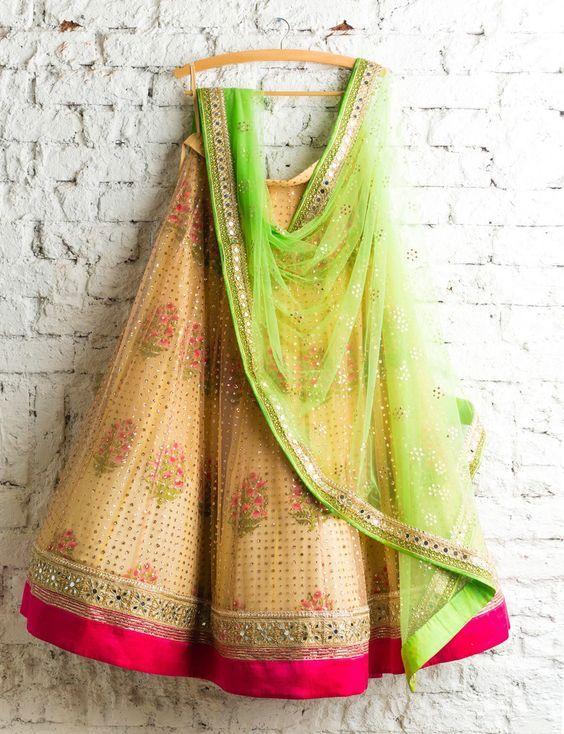 Love this lemon green yellow lehenga by Swati Manish #Frugal2Fab
