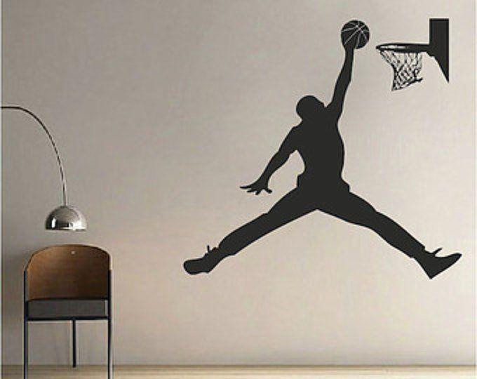 Basketball Spieler Wandtattoo – Jump Shoot Loop Basketball Aufkleber – Basketball Wall Decal Sticker – Re   – MURALES