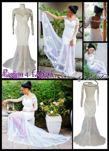 White lace matric dance dress with an open back, with a sweetheart neckline, long sheer sleeves, detailed with lace. Sheer legs detailed with lace. With a train.