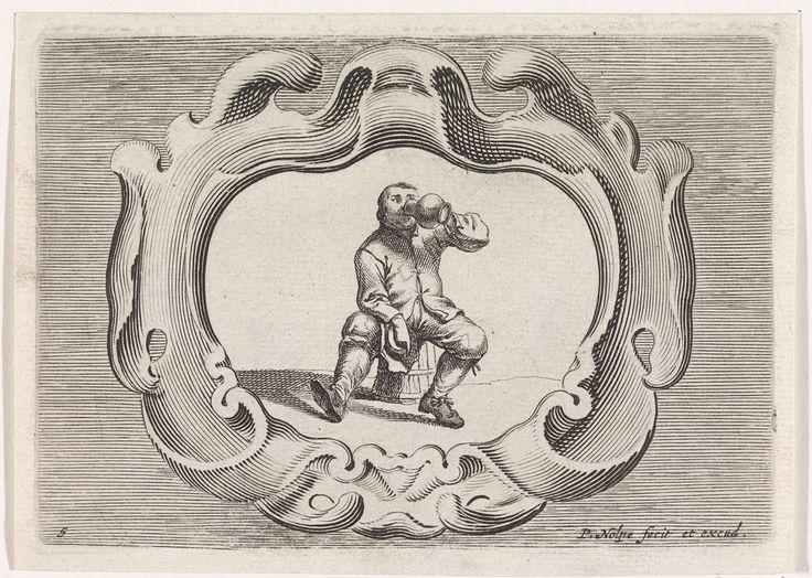 Pieter Nolpe | Drinkende boer, Pieter Nolpe, Pieter Jansz. Quast, 1623 - 1653 | Een boer, zittend op een houten emmer, drinkt uit een kruik. In zijn andere hand houdt hij zijn hoed. De voorstelling is gevat in een schulpvormig cartouche. Prent maakt deel uit van een serie met scènes uit het boerenleven.