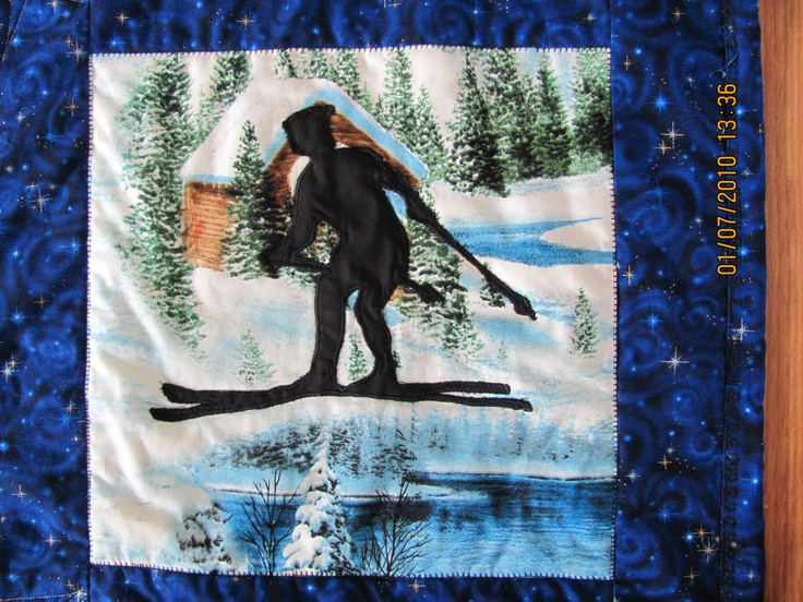 Memory Quilt Block -  Skier    $50.     Plus Handling and Shipping.      marilynpearson2@gmail.com