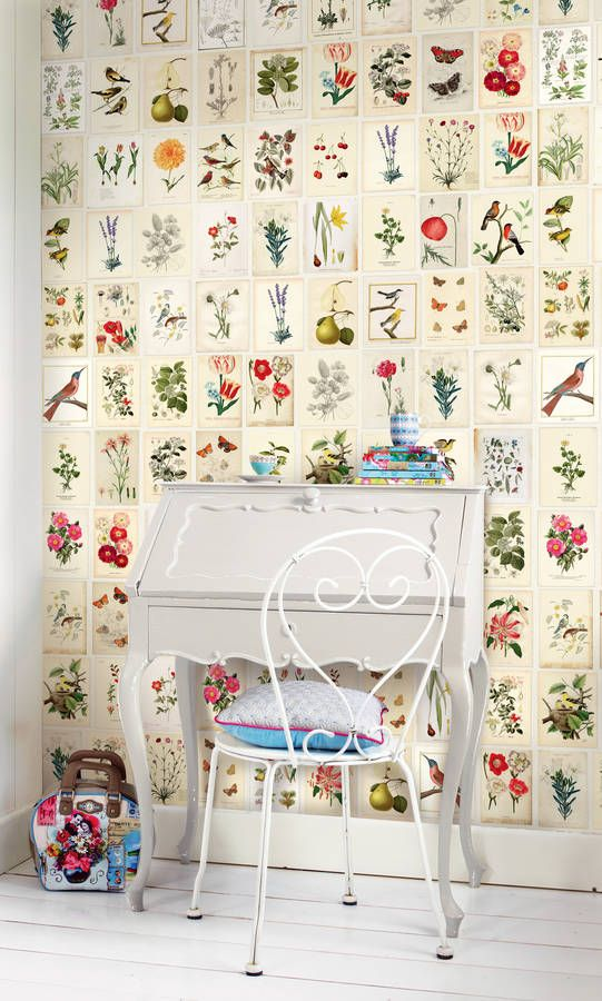 The Pip Studio Wild Flowerland wallpower features a stunning tile design using technical flower drawings and will add a stylish touch to any home.