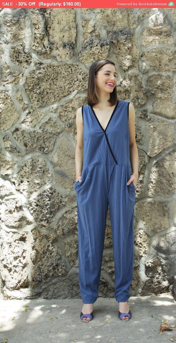 Long Ladies Jumpsuit , One Piece Pantsuit, Blue jumpsuit, Summer Romper, Designer Clothes, elegant pantsuit