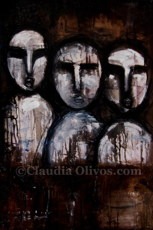 Our Ancestors, our tribe II. Mapuche-Paintings-on-Canvas by Claudia Olivos.  Oil paint on collage on canvas... our Ancestors.  Much of the Mapuche work on wood for ancestors is like that of Chile's Easter Island... wonder and wander about... the internet finding out about them and you may find meanings and messages that are well... from worlds beyond....