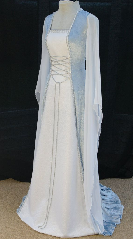 Ice blue medieval dress,elven dress, handfasting dress, renaissance wedding fantasy dress custom made